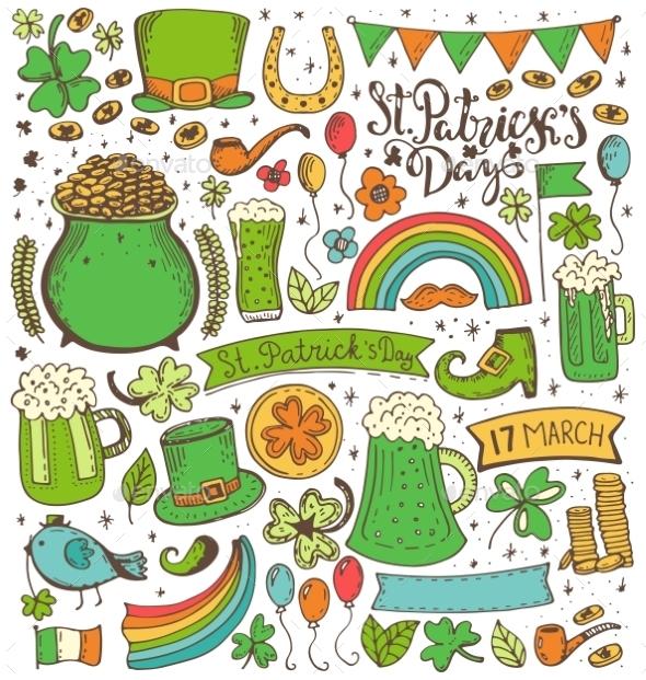 Set Of St. Patricks Day - Decorative Symbols Decorative
