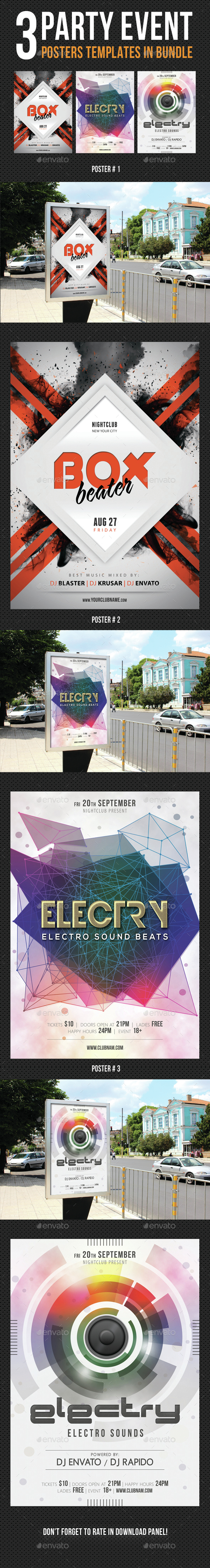 3 Party Event Music Poster Bundle - Signage Print Templates