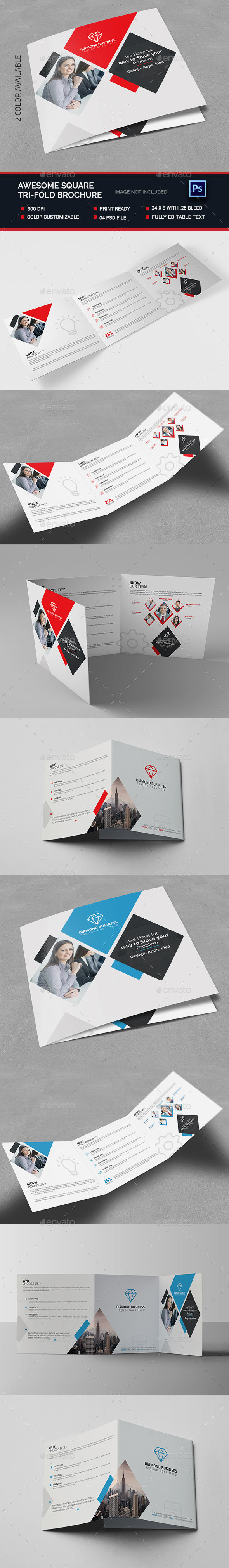 Awesome Square Tri-fold Brochure  - Brochures Print Templates
