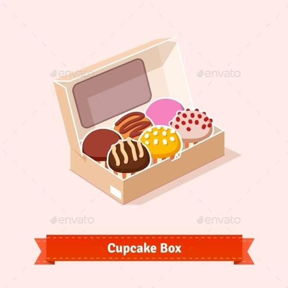 Cupcakes in a Cardbox - Food Objects