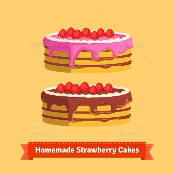 Homemade Strawberry Cakes - Food Objects