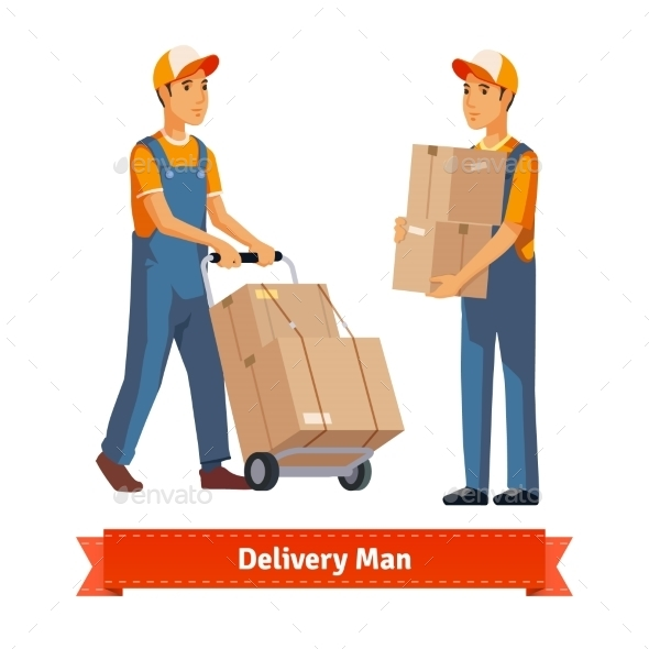 Delivery Man with Boxes - People Characters