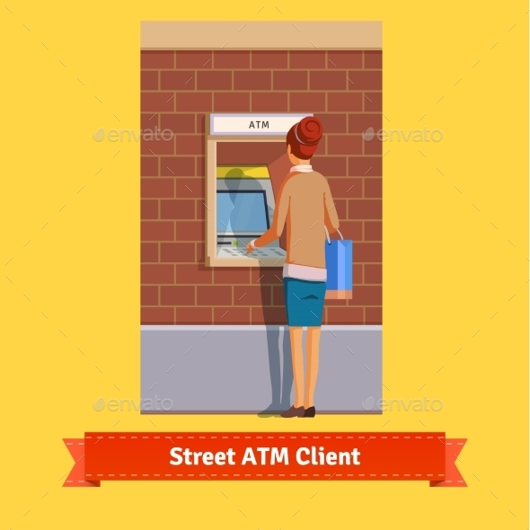 Girl at ATM Machine Doing Deposit or Withdrawal - People Characters