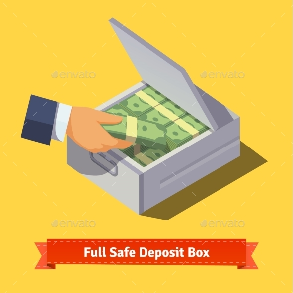 Hands Putting Cash Stack To a Safe Deposit Box - Concepts Business