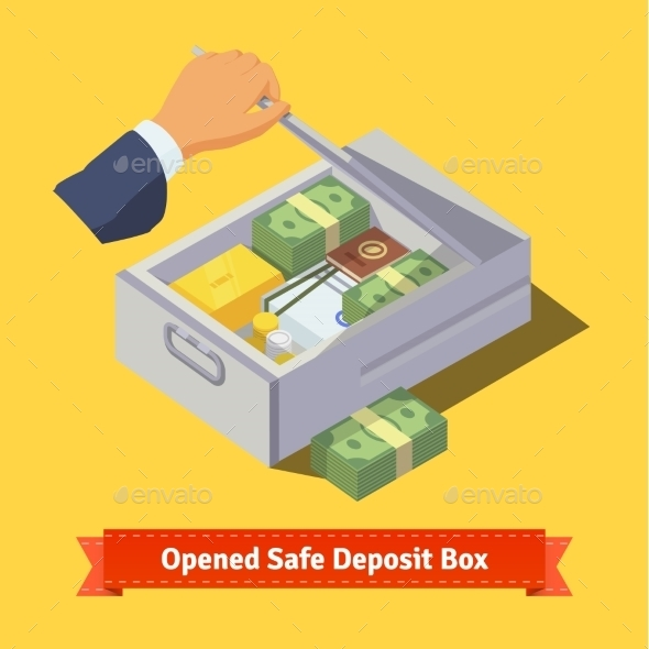 Hand Opening a Safe Deposit Box Full of Valuables - Concepts Business