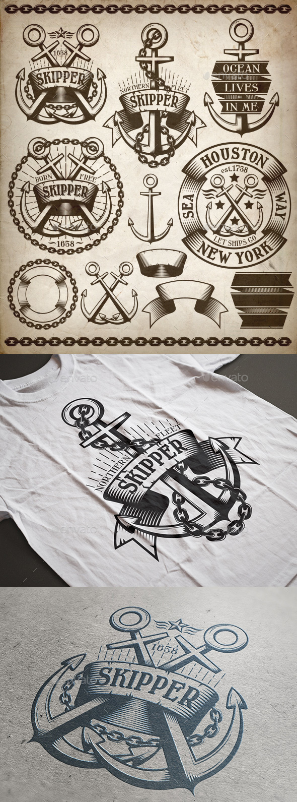 Anchor Logos Kit - Tattoos Vectors