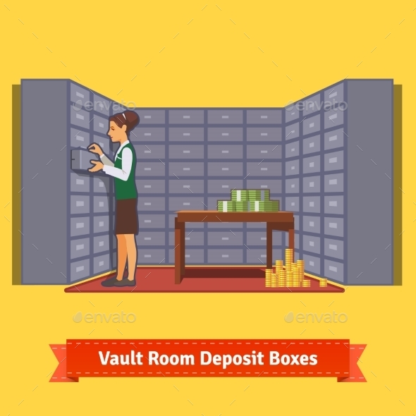 Bank Vault Room with a Clerk and Deposit Boxes - Concepts Business