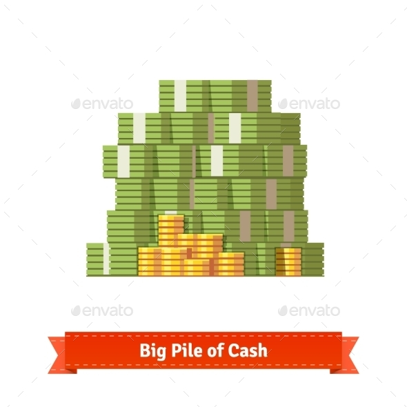 Big Stacked Pile of Cash and Some Gold Coins - Concepts Business