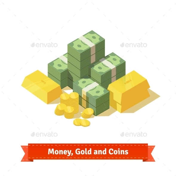 Stacked Pile of Cash and Gold - Concepts Business