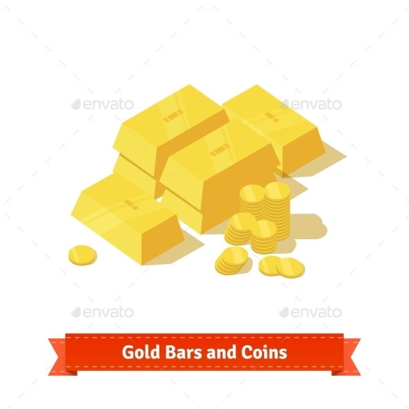 Gold Bars or Ingot and Coins - Concepts Business
