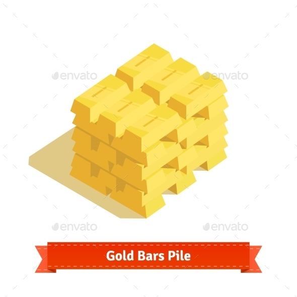 Piles of Gold Bars or Ingot - Concepts Business