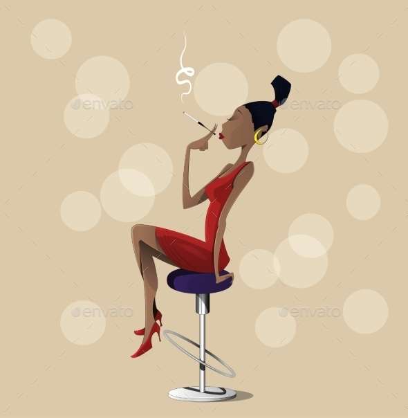 Cartoon Lady Sitting on a High Chair - People Characters