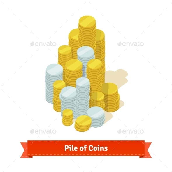 Pile of Coins Gold And Silver - Man-made Objects Objects