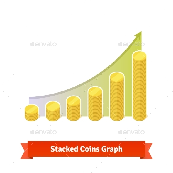 Stacked Gold Coins Graph - Concepts Business
