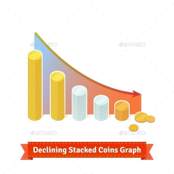 Declining Stacked Coins Graph - Concepts Business