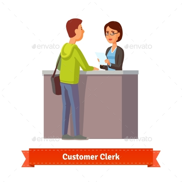 Assistant Clerk Working with Customer - People Characters
