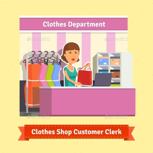 Sales Clerk Working with Customers - Retail Commercial / Shopping