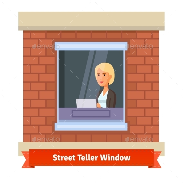 Street Teller Window with a Working Clerk Woman - People Characters