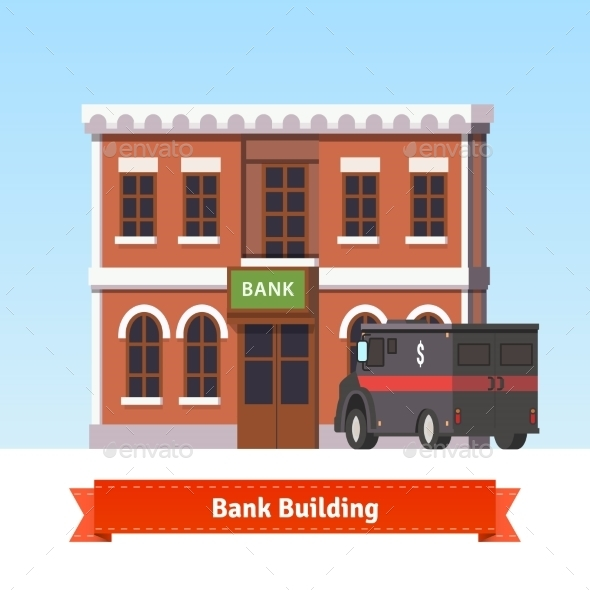 Bank Building with Armoured Truck at the Front - Buildings Objects