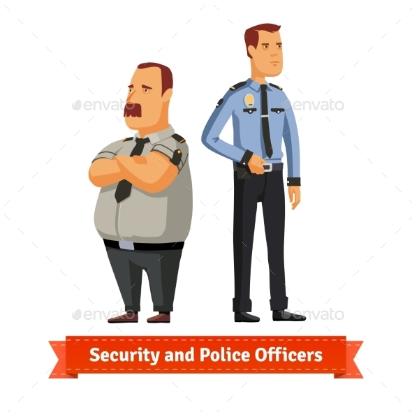 Security and Police Officers Standing - People Characters