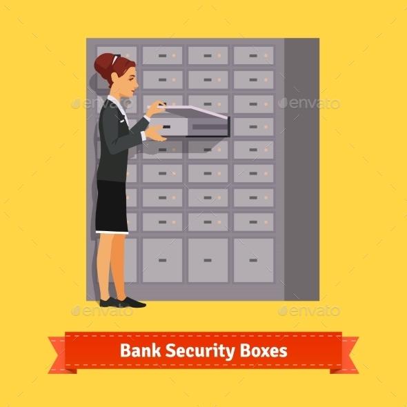Bank Clerk Woman Opening Safe-Deposit Box - People Characters