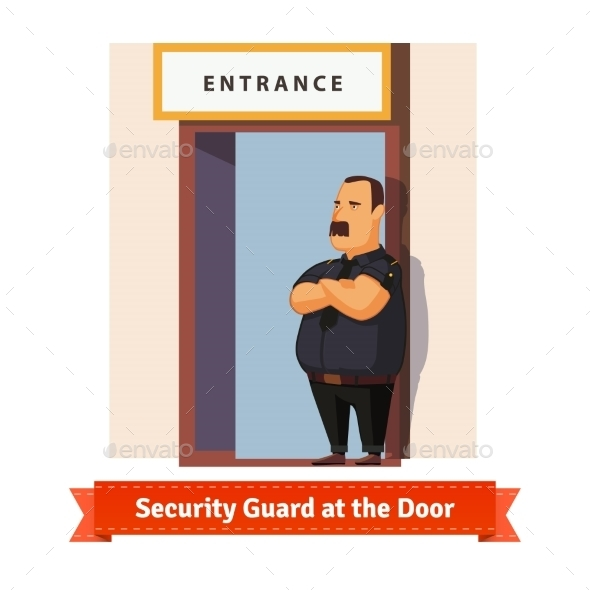 Security Guard or Bouncer Working at the Door - People Characters