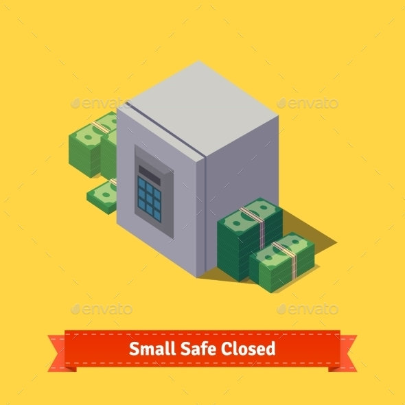 Small Safe Opened with Money Inside - Man-made Objects Objects