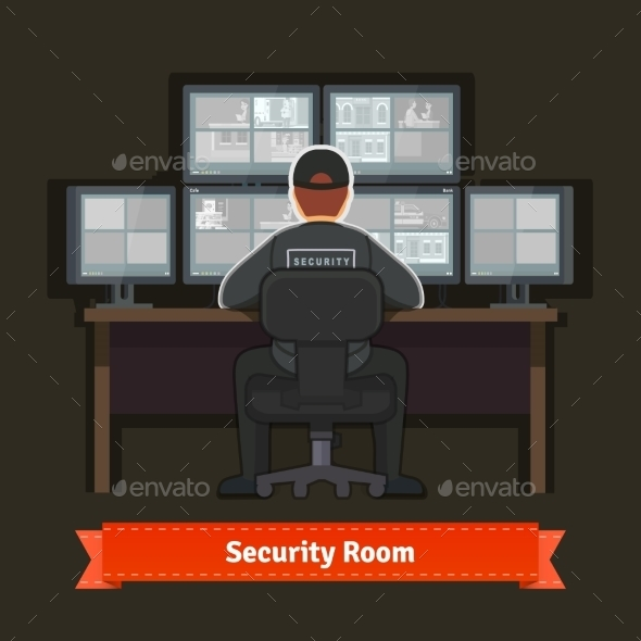 Security Room with Working Professional - Computers Technology
