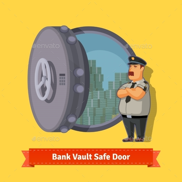Bank Vault Room Safe Door With an Officer Guard - People Characters