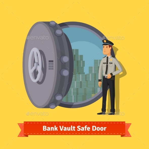 Bank Vault Room Safe Door With a Officer Guard - People Characters