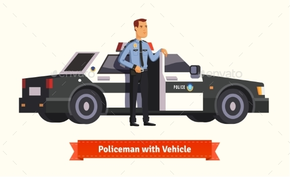 Policeman Standing in Front of His Car - People Characters