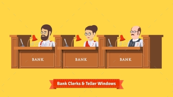 Three Bank Clerks at Work - Retail Commercial / Shopping