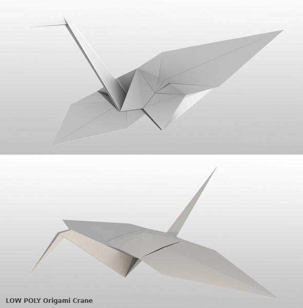 Origami Crane 3D model - 3DOcean Item for Sale