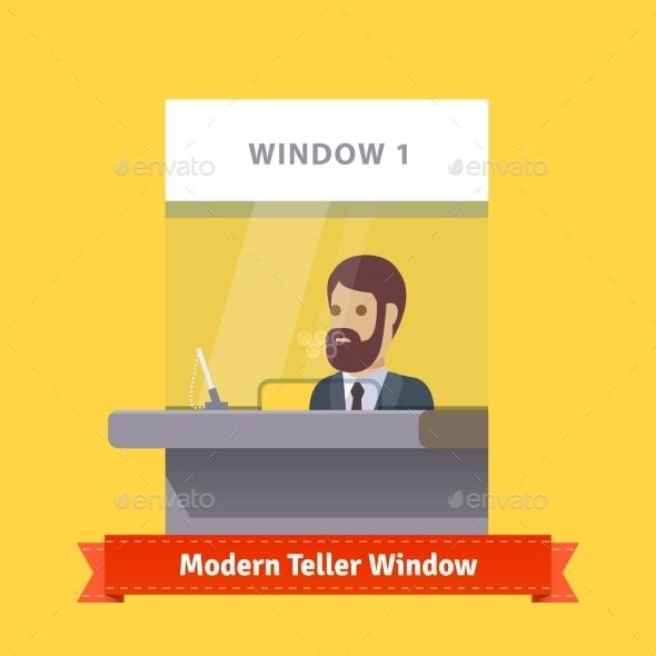 Modern Teller Window With a Working Cashier - Industries Business