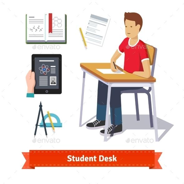 Student Desk Colourful Flat Icon Set - Miscellaneous Conceptual