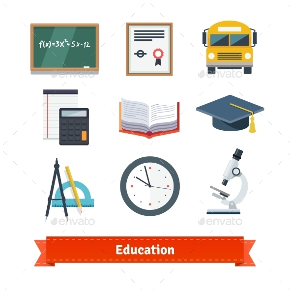 Education Flat Icon Set - Man-made Objects Objects