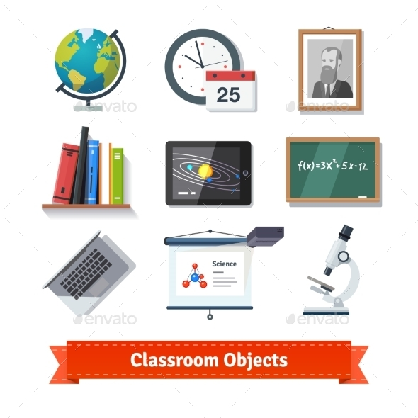 Classroom Objects Colourful Flat Icon Set - Objects Vectors