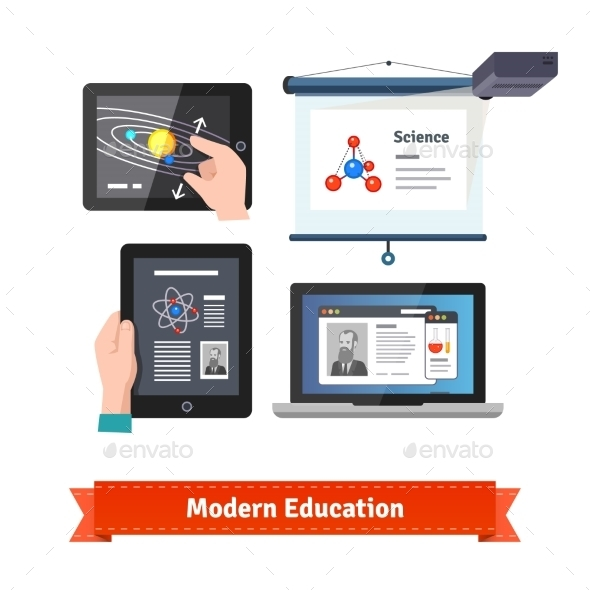 Modern Technology In Education Flat Icon Set - Computers Technology