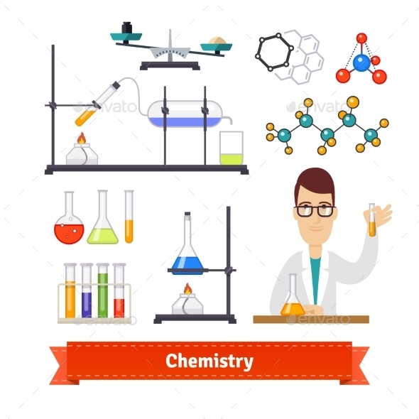 Chemistry Equipment and Chemist Colourful Set - Miscellaneous Vectors