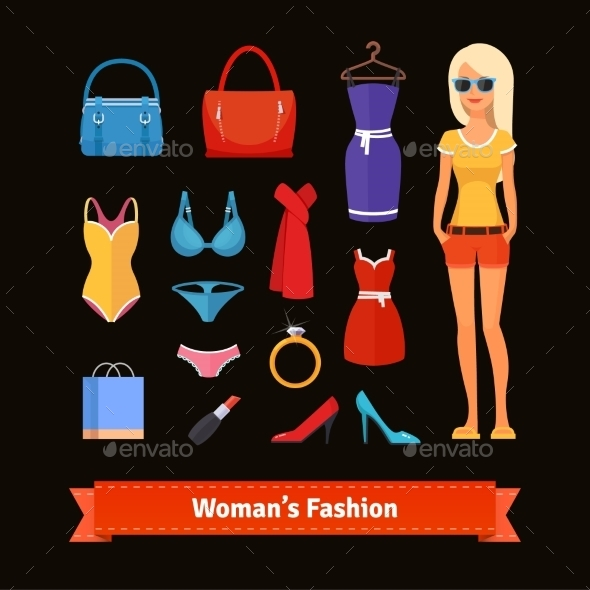 Woman Fashion Colourful Flat Icon Set with Model - People Characters