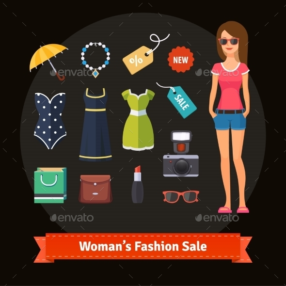 Woman Summer Fashion Sale Set with Model - People Characters