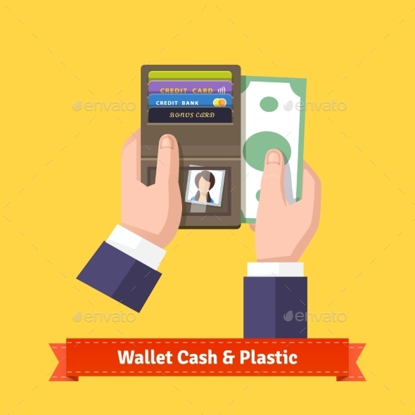 Opened Wallet In Hands Flat Icon - Retail Commercial / Shopping