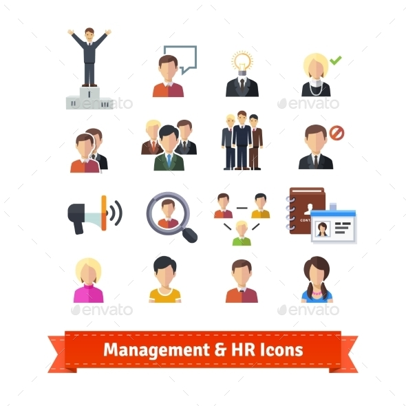 Management and Human Resources Flat Icons Set - People Characters