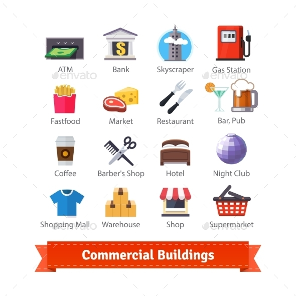 Commercial Buildings Colourful Flat Icon Set - Man-made Objects Objects