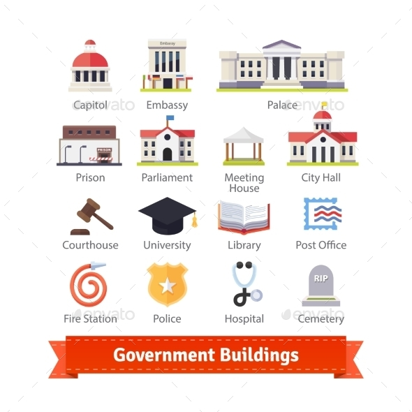 Government Buildings Colourful Flat Icon Set - Buildings Objects