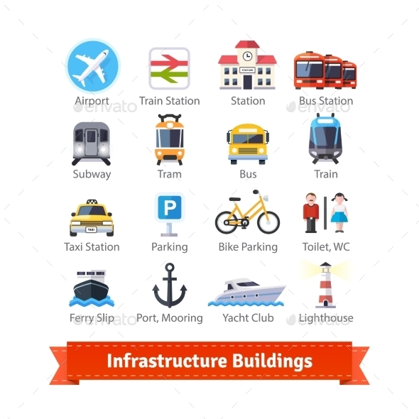 Infrastructure Buildings Flat Icon Set - Industries Business
