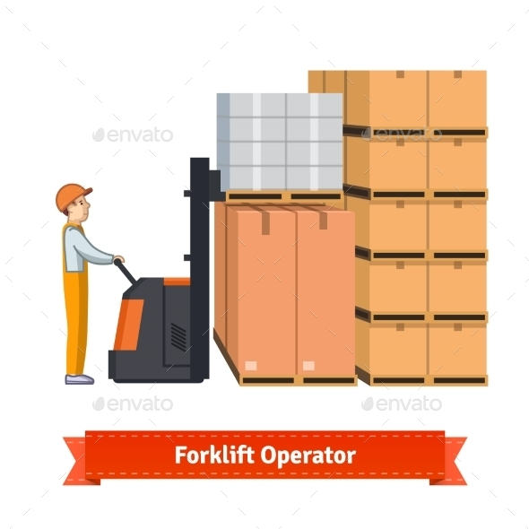 Forklift Operator Loading Boxes - People Characters