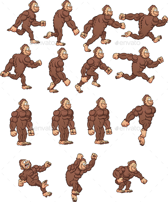 Cartoon Gorilla Sprites - Sprites Game Assets