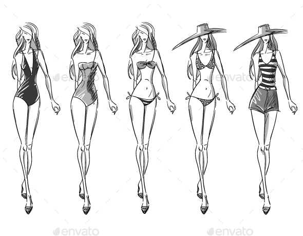 Bikini Catwalk Fashion Illustration - People Characters