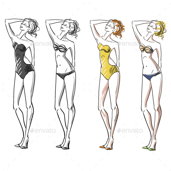 Attractive Girl Wearing Bikini - People Characters